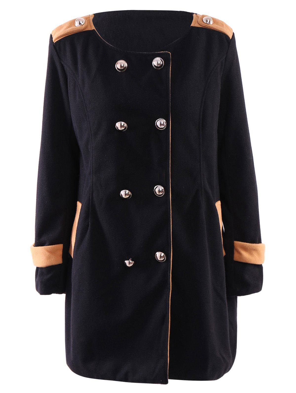 Trendy Women's Turn-Down Collar Color Block Long Sleeve Worsted Coat - BLACK M