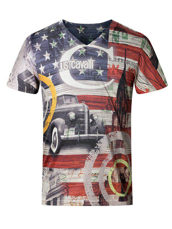 3D Star and Stripe Pattern V-Neck Short Sleeve Plus Size Men's T-Shirt - COLORMIX L
