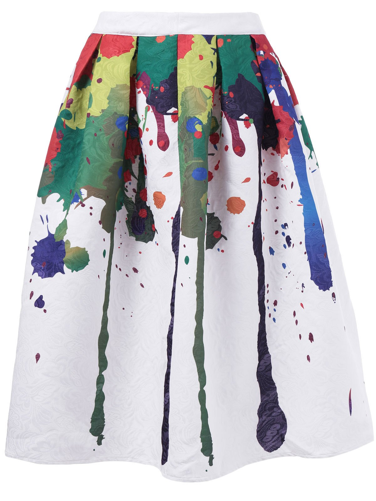 Fashionable Doodle Printing High-Waisted Skirt For Woman - WHITE XL