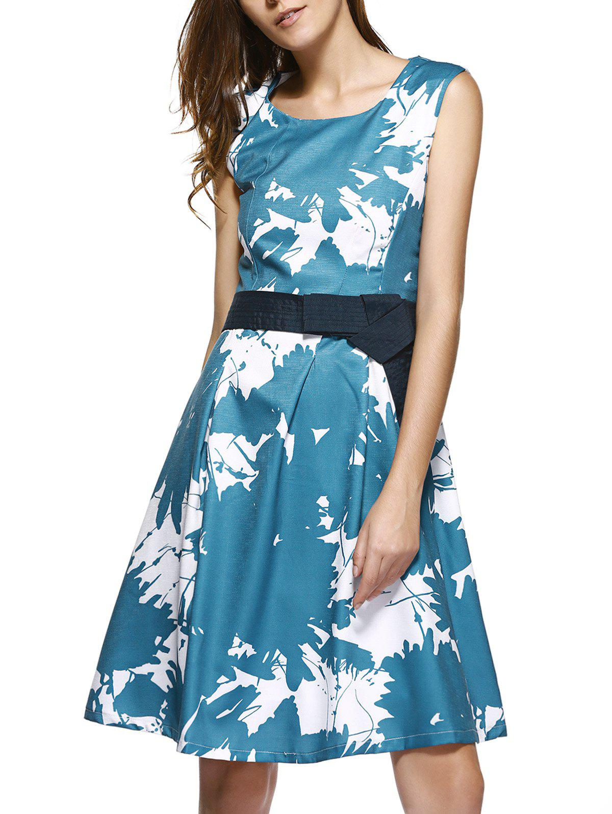 Elegant Tie Dye Sleeveless Fitting Skater Dress For Women