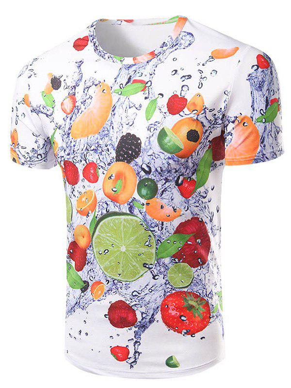 Men's Casual Short Sleeve 3D Fruits Printed T-Shirt - COLORMIX 2XL