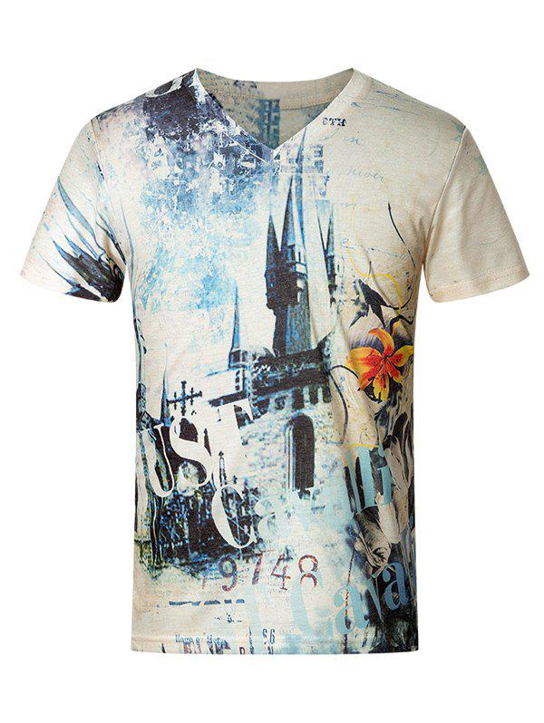 3D Vintage Castle Pattern V-Neck Short Sleeve Plus Size Men's T-Shirt