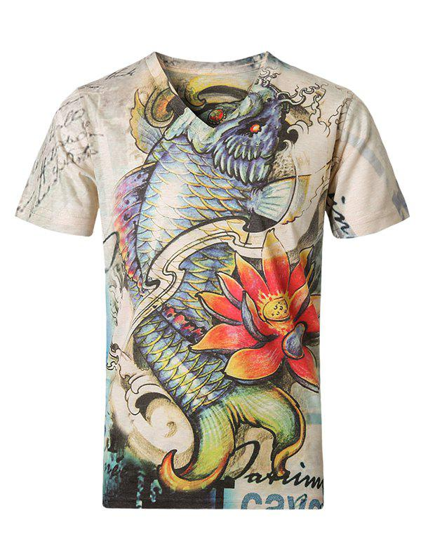 3D Fish and Floral Pattern V-Neck Short Sleeve Plus Size Men's T-Shirt
