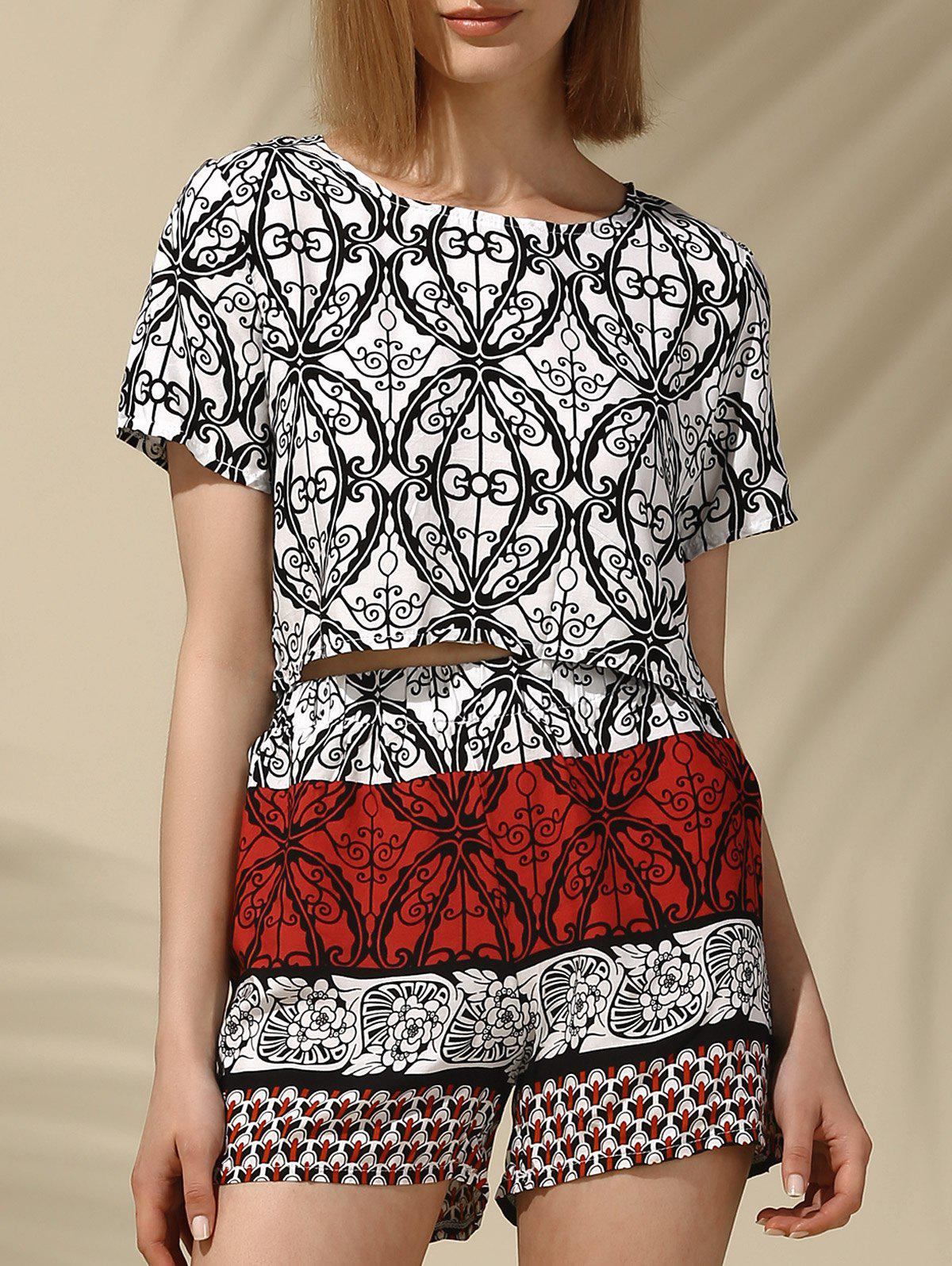 Ethnic Women's Jewel Neck Printed Crop Top and Shorts Set - RED L