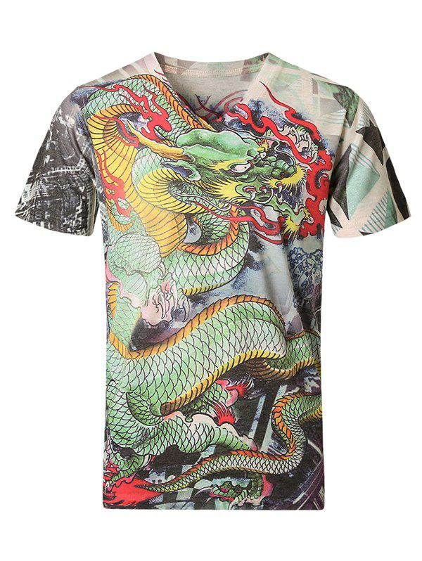 3D Dragon Pattern V-Neck Short Sleeve Plus Size Men's T-Shirt - COLORMIX 2XL