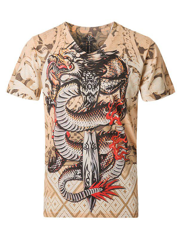 3D Dragon and Geometric Pattern V-Neck Short Sleeve Plus Size Men's T-Shirt - COLORMIX 3XL