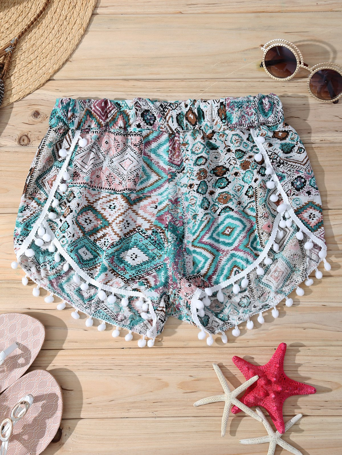 Elastic Waist Print Stylish Pompon Trim Women's Shorts - COLORMIX XL