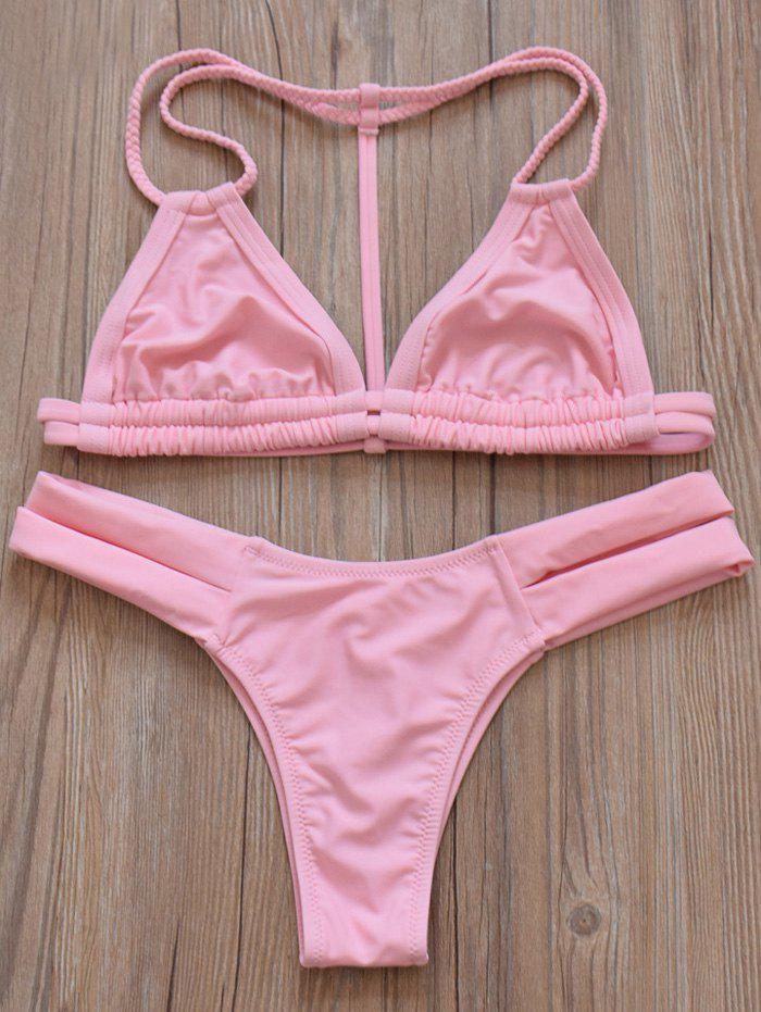 Halter Solid Color Stretchy Cut Out Bikini Set - PINK M