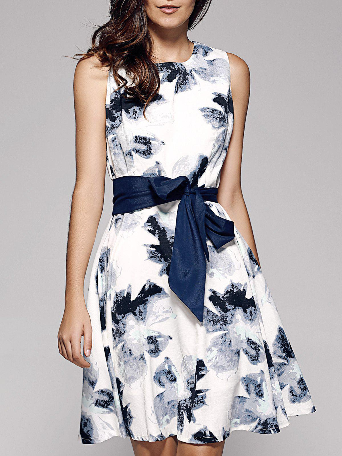 Ink Painting A Line Dress - WHITE XL