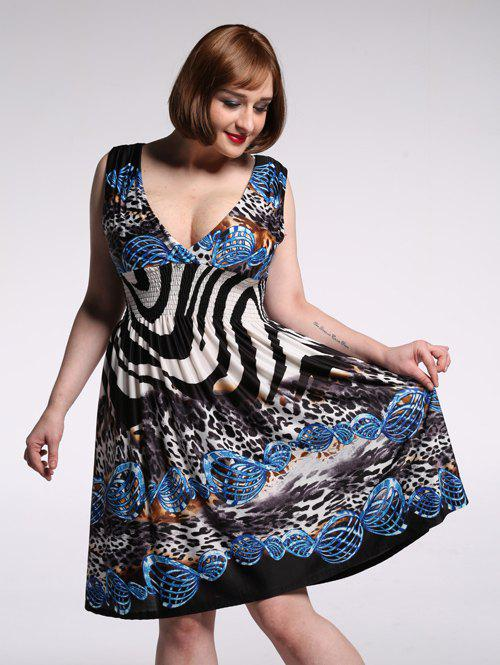 Alluring Plunging Neck Sleeveless Leopard Print Dress For Women - COLORMIX 7XL