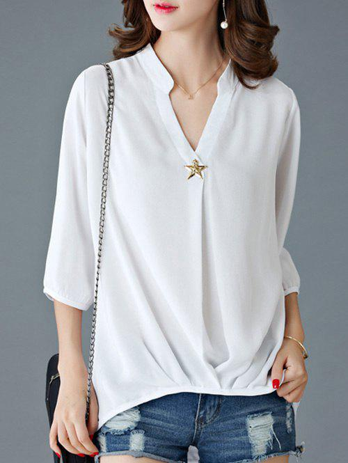 Elegant 3/4 Sleeve V-Neck Women's Loose Blouse - WHITE M