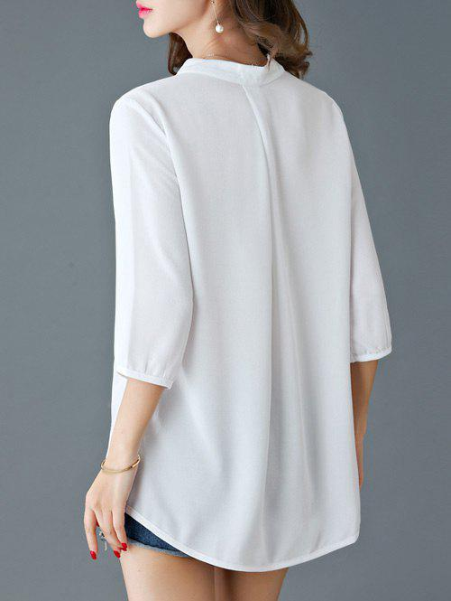 Elegant 3/4 Sleeve V-Neck Women's Loose Blouse - WHITE 2XL