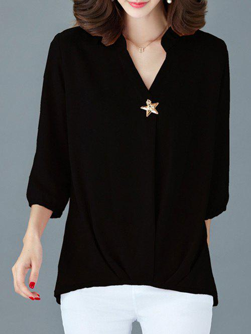 Elegant 3/4 Sleeve V-Neck Women's Loose Blouse - BLACK 3XL