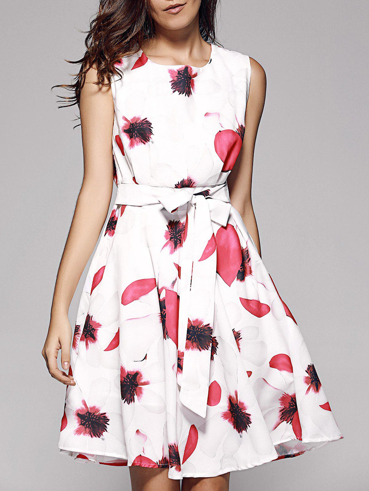Floral Bowtie Fit and Flare Dress - WHITE S