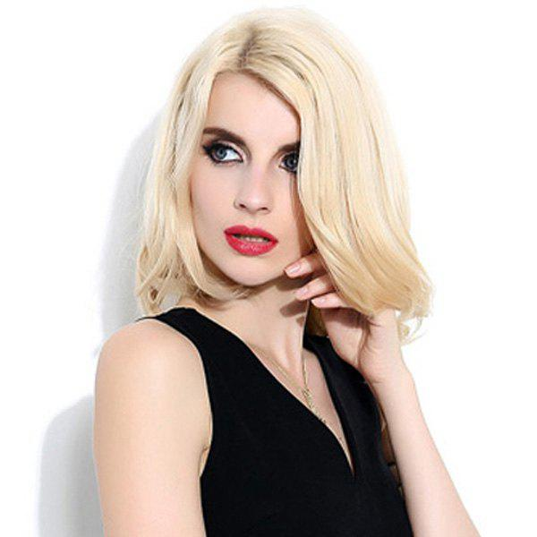 Vogue Women's Medium Tail Slightly Curled Side Parting Lace Front Human Hair Wig - BLONDE
