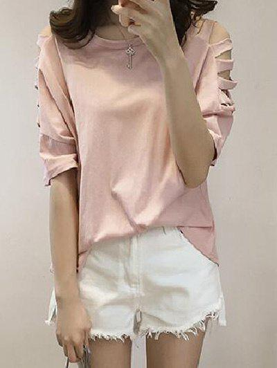 Stylish Round Neck Hollow Out Sleeve Women's T-Shirt - PINK 4XL