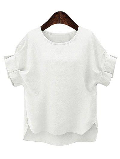 Plus Size Short Sleeve Ruffled Women's T-Shirt - WHITE 4XL