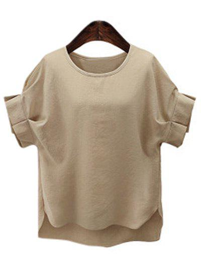 Plus Size Short Sleeve Ruffled Women's T-Shirt - KHAKI 3XL