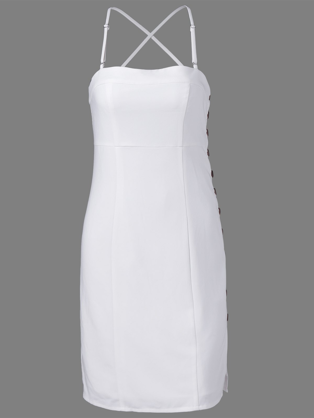 Stylish Spaghetti Straps Fastener White Dress For Women - WHITE XL