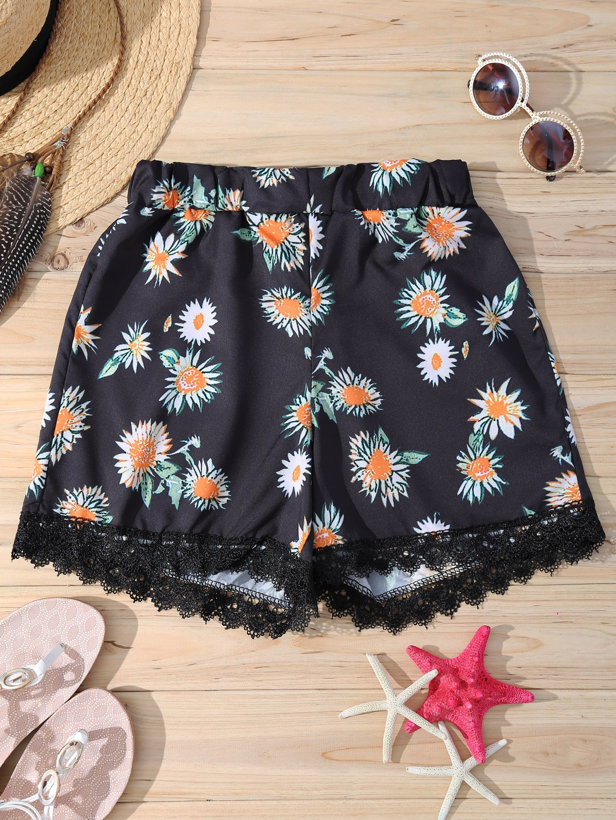Elastic Waist Daisy Print Stylish Lace Trim Women's Shorts - BLACK XL