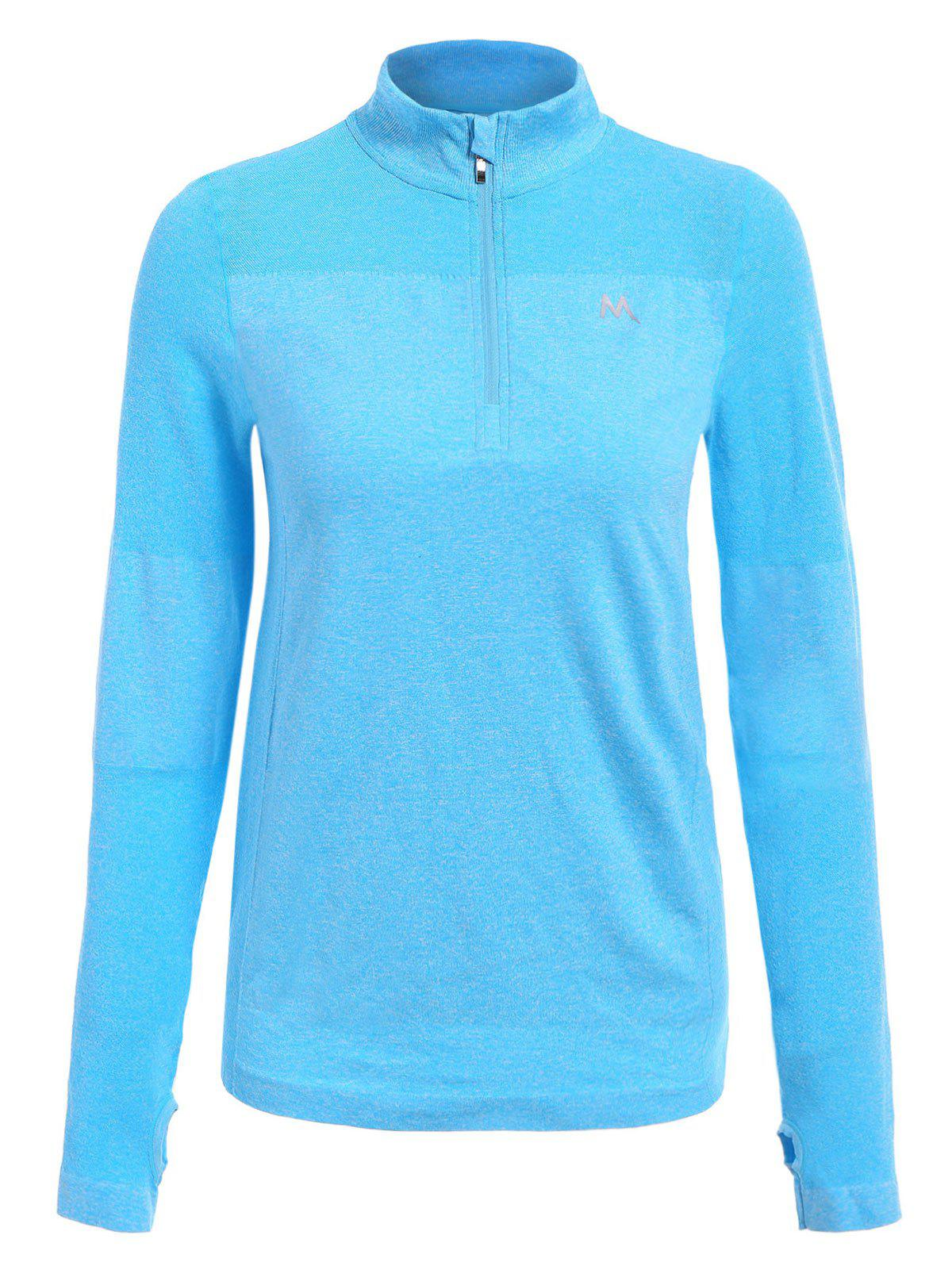 Trendy Long Sleeve Round Neck Sport T-Shirt For Women - BLUE L