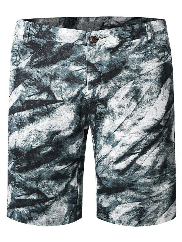 Ink Painting Pattern Zipper Fly Plus Size Straight Leg Men's Shorts - COLORMIX 29