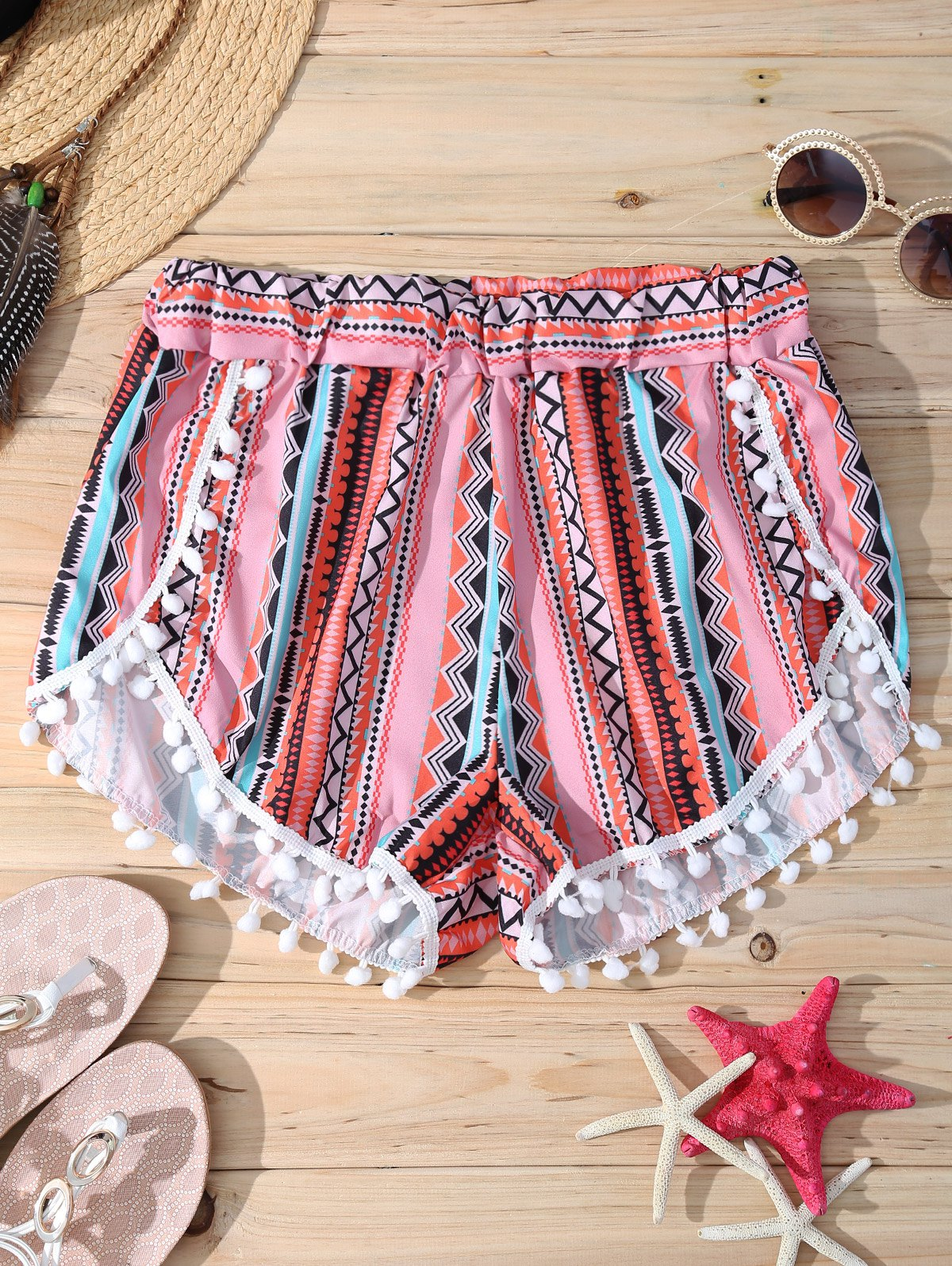 Geometric Print Elastic Waist Stylish Pompon Trim Women's Shorts - RED XL