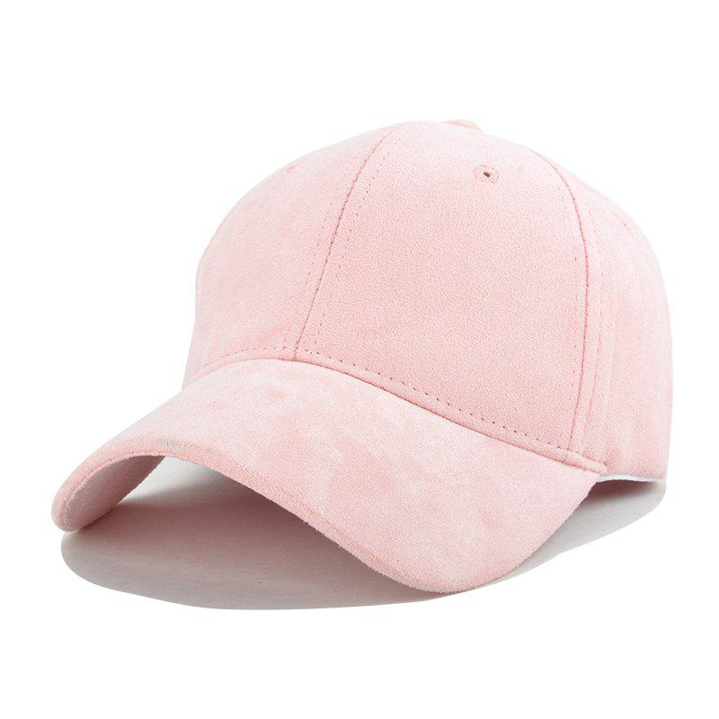 Trendy Solid Color Faux Suede Baseball Hat For Women - PINK