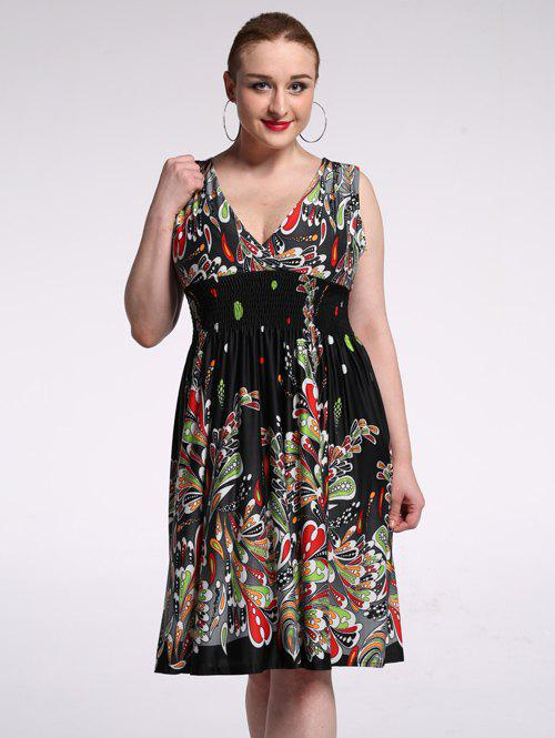Plunging Neck High Waist Floral Cocktail Dress - BLACK 7XL