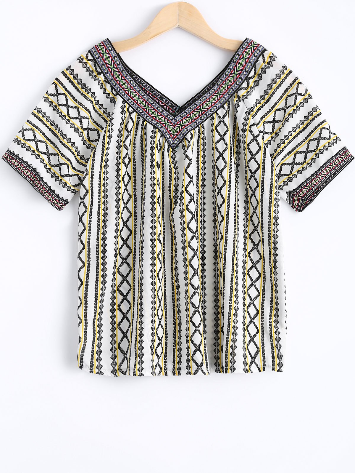 Bohemian Women's V-Neck Short Sleeves Tribal Print Blouse - WHITE ONE SIZE(FIT SIZE XS TO M)