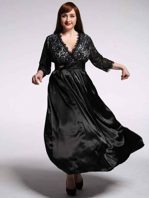 Gorgeous Plunging Neck 3/4 Sleeve Lace High Waist Dress For Women - BLACK 7XL