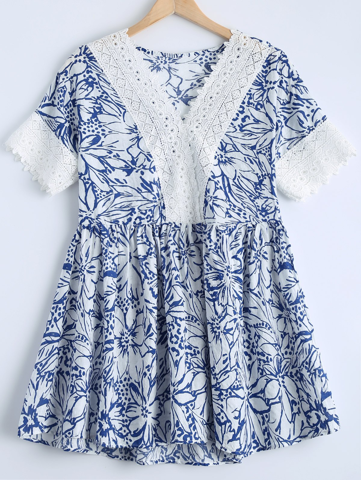 Sweet Women's V-Neck Lace Panelled Floral Print Short Sleeves Dress - DENIM BLUE ONE SIZE(FIT SIZE XS TO M)