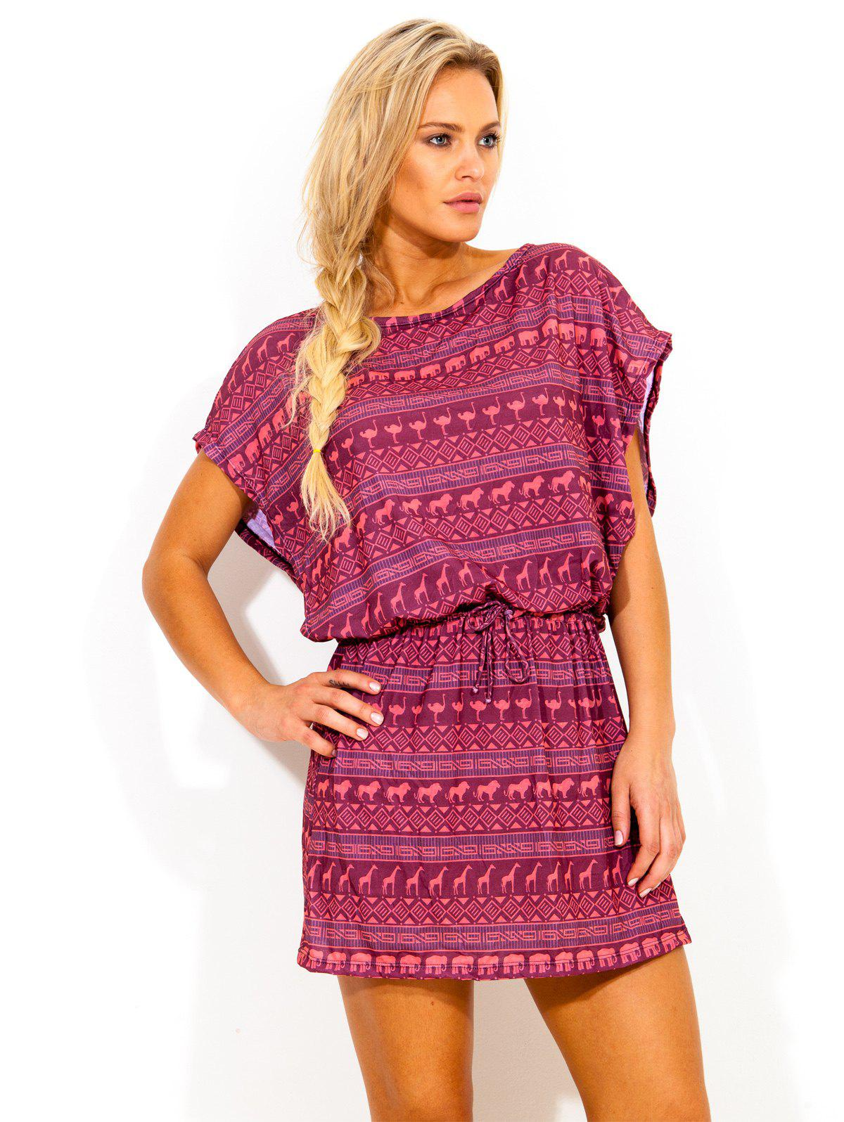Bohemian Bat Sleeve Ethnic Print Dress - CERISE L