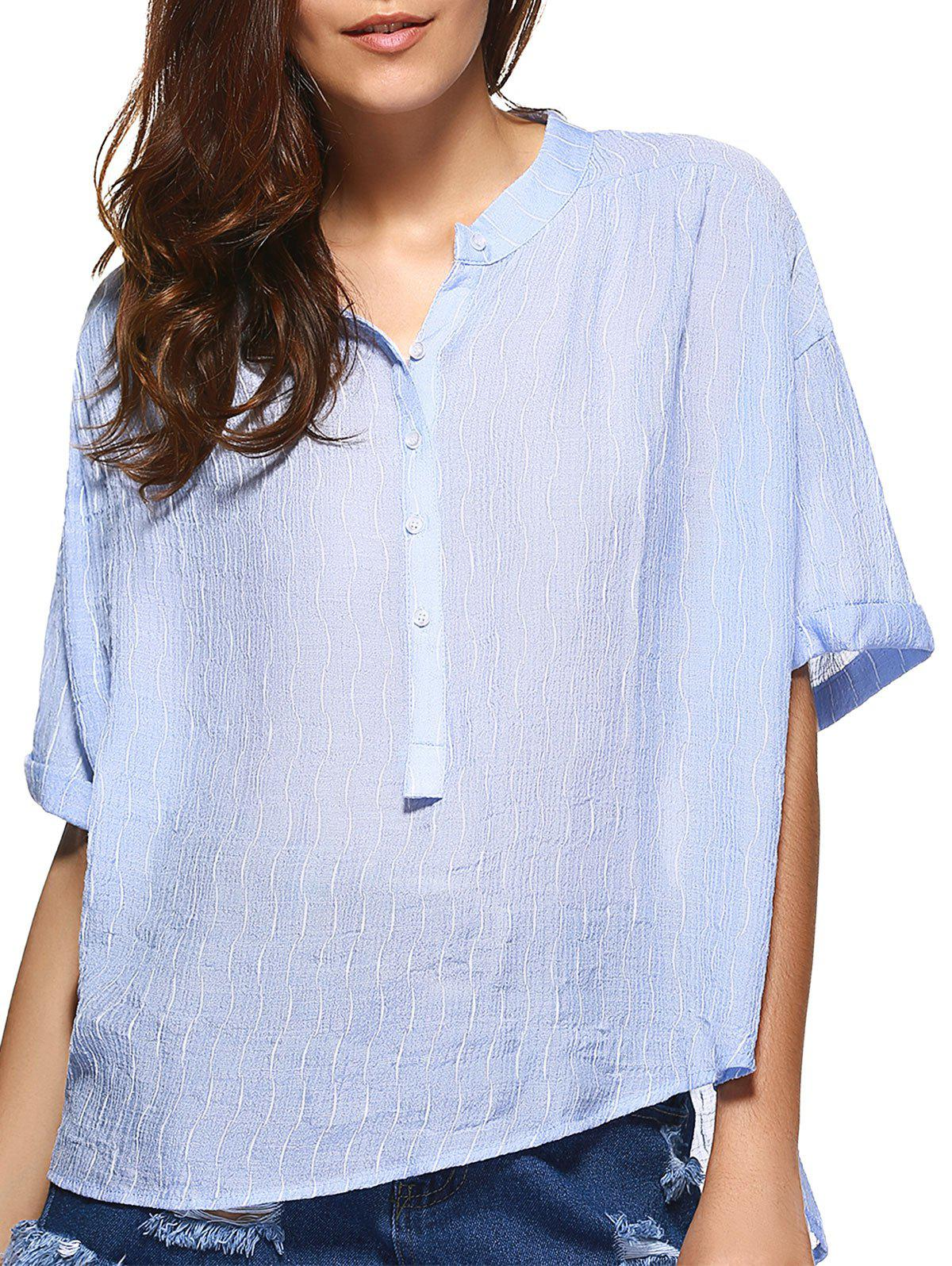 Brief Style Band Collar Wavy Striped Loose-Fitting Blouse For WomenWomen<br><br><br>Size: ONE SIZE(FIT SIZE XS TO M)<br>Color: LIGHT BLUE