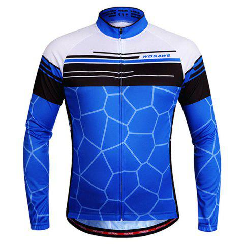Fashionable Irregular Pattern Quick Dry Cycling Long Sleeve Jersey For Unisex - BLUE S