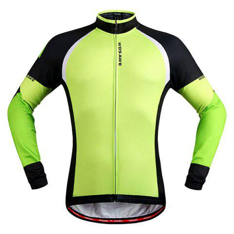 Simple Windproof Long Sleeve Thermal Fleece Cycling Jacket For Unisex - BLACK/GREEN 2XL