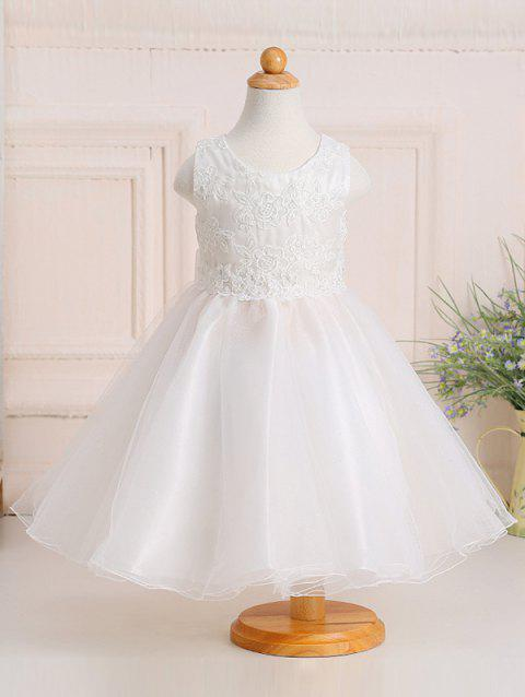 Sweet Girl's Embroidered Pure Color Ball Gown Dress - WHITE 100