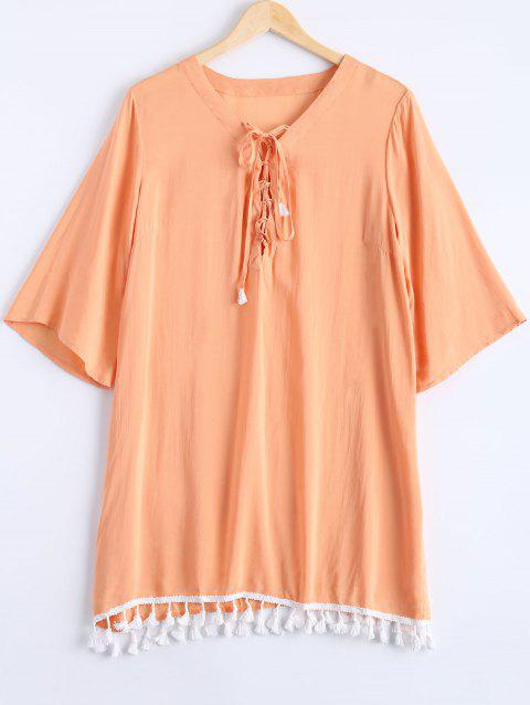 Simple Women's Lace Up Tassel 3/4 Sleeve Dress - ORANGEPINK ONE SIZE(FIT SIZE XS TO M)