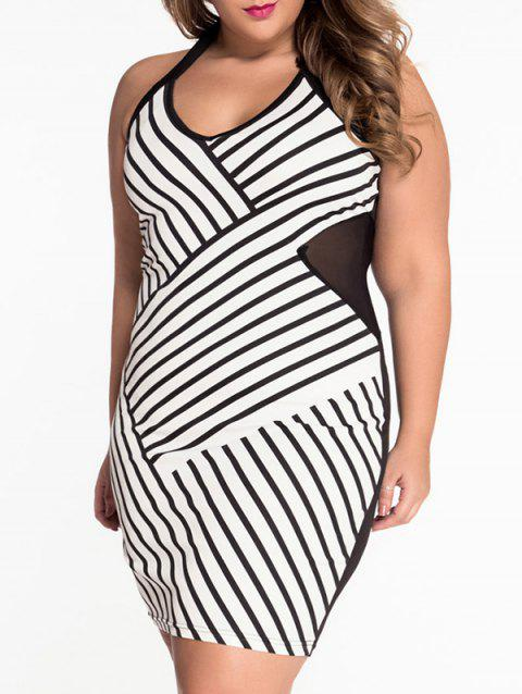 Plus Size Striped Sheer Halter Bandage Dress