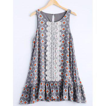Casual Women's Round Neck Floral Print Sleeveless Dress