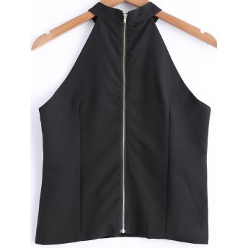 Stylish Women's Solid Color Jewel Neck Cut Out Zipper Fly Sleeveless Top - BLACK M