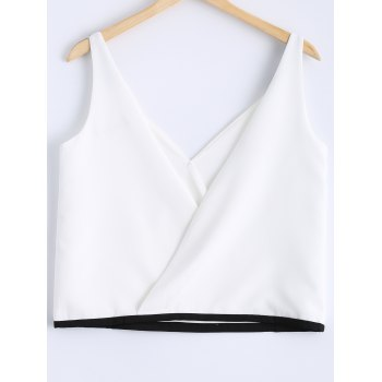 Stylish Women's  Stitching Color V-Neck Sleeveless Top - WHITE S