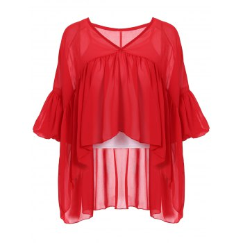 Stylish Women's V-Neck Lantern Sleeve Flounced Blouse + Tank Top