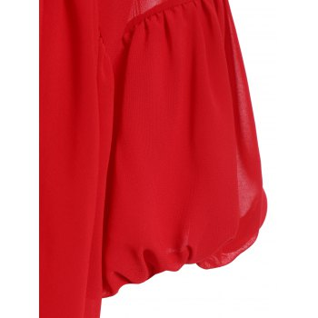 Stylish Women's V-Neck Lantern Sleeve Flounced Blouse + Tank Top - RED M