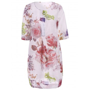 Stylish Women's Jewel Neck 3/4 Sleeve Big Floral Printed Dress