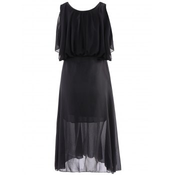 Bohemian Style Chiffon Solid Color Scoop Neck Sleeveless Women's Maxi-Dress - S S