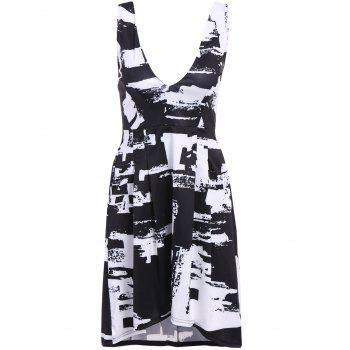Refreshing Black and White Printed Plunging Neck Sleeveless Dress For Women