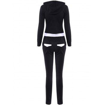 Active Hooded Long Sleeve Spliced Hoodie + Drawstring Pants Women's Twinset - ONE SIZE(FIT SIZE XS TO M) ONE SIZE(FIT SIZE XS TO M)