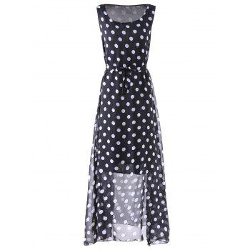 Brief Women's Scoop Neck Polka Dot Print Sleeveless Maxi Dress