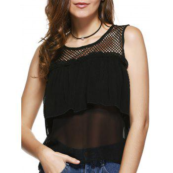 Round Collar Voile Spliced Hollow Out Women s Tank Top